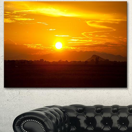 Designart Bright Yellow Sunset In Sri Lanka ExtraLarge Landscape Canvas Art