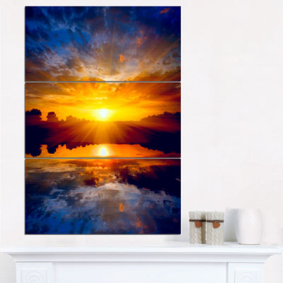 Designart Bright Yellow Sunset Over Lake Large Seashore Triptych Canvas Print
