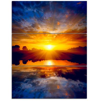Designart Bright Yellow Sunset Over Lake Large Seashore Triptych Canvas Print