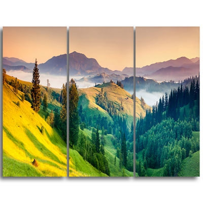 Designart Brightly Green And Blue Mountains Landscape Triptych Canvas Art Print