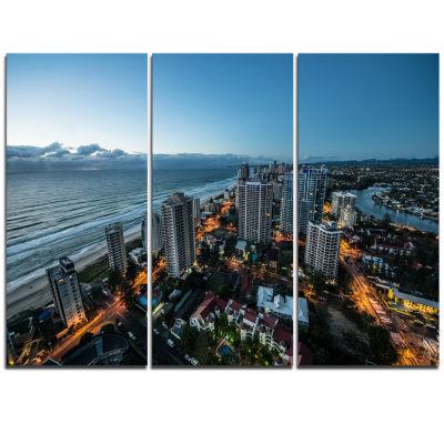 Designart Brisbane Skyscrapers And Sea Aerial ViewCityscape Triptych Canvas Print