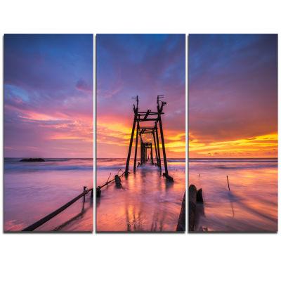 Designart Broken Wooden Bridge At Sunset Pier Seascape Triptych Canvas Art Print