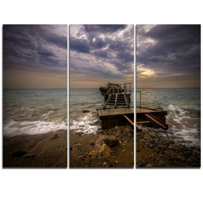 Designart Broken Wooden Pier For Boats Sea BridgeTriptych Canvas Art Print