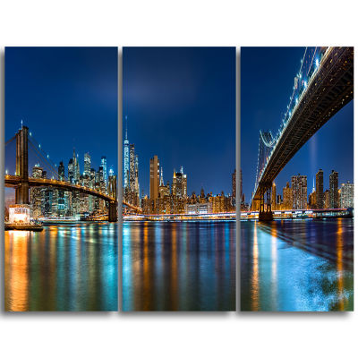Designart Brooklyn And Manhattan Bridges Night Cityscape Triptych Canvas Art Print
