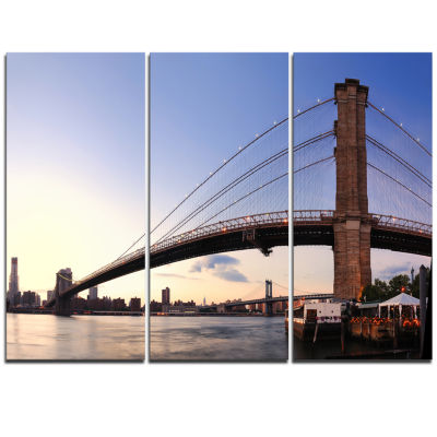 Designart Brooklyn Bridge In New York City Cityscape Triptych Canvas Print