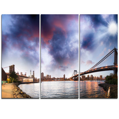 Designart Brooklyn Bridge Over East River Cityscape Triptych Canvas Print