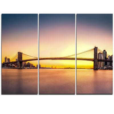 Designart Brooklyn Bridge Panorama Yellow Sky Cityscape Triptych Canvas Print