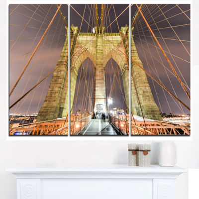 Designart Brooklyn Bridge Tower And Cabling Cityscape Triptych Canvas Print