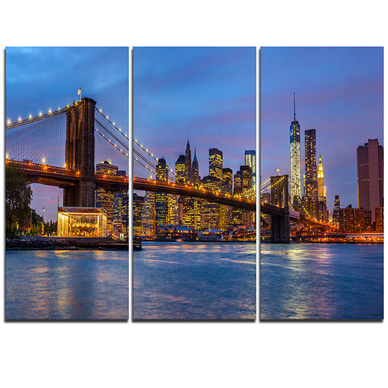 Designart Brooklyn Bridge With Lights And Reflections Cityscape Triptych Canvas Print
