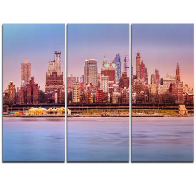 Designart Brooklyn Skyline Under Sunset Light Modern Cityscape Triptych Canvas Wall Art