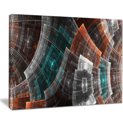 Designart Brown And Blue Fractal Flower Grid Abstract Art On Canvas