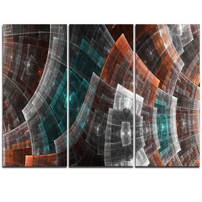 Designart Brown And Blue Fractal Flower Grid Abstract Art On Triptych Canvas