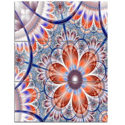 Designart Brown And Blue Large Fractal Flower Floral Triptych Canvas Art Print