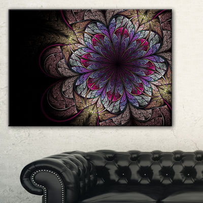 Designart Brown And Blue Soft Fractal Flower Floral Canvas Art Print