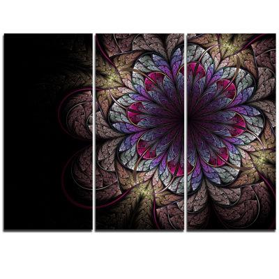 Designart Brown And Blue Soft Fractal Flower Floral Triptych Canvas Art Print