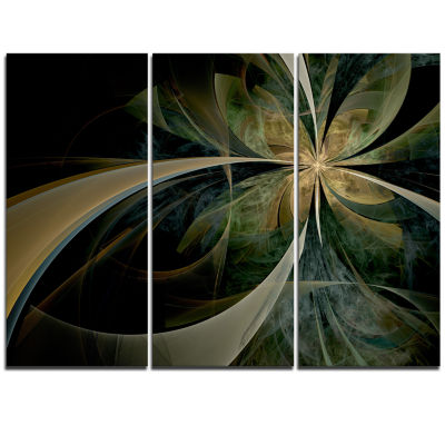 Designart Brown And Gold Symmetrical Fractal Design Floral Triptych Canvas Art Print