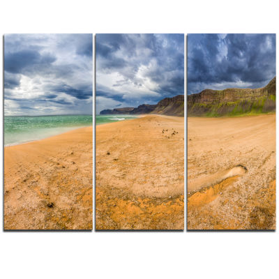 Designart Brown Beach By Arctic Sea Panorama Landscape Triptych Canvas Art Print