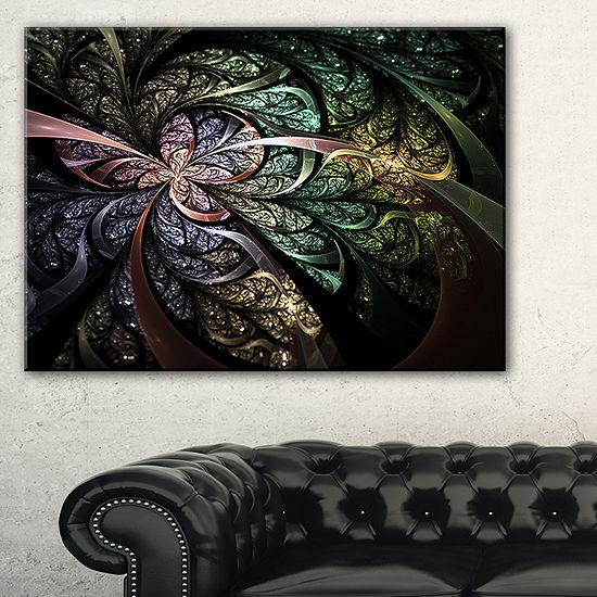 Designart Brown Blue Fractal Flower Digital Art Floral Canvas Art Print