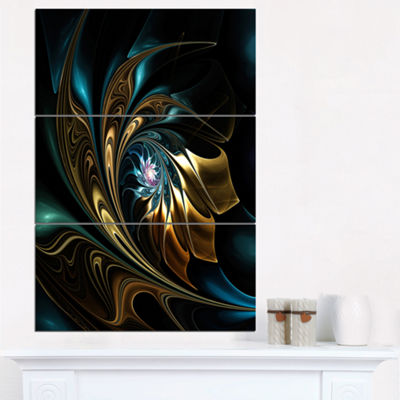 Designart Brown Blue Fractal Flower In Black Oversized Abstract Triptych Canvas Art