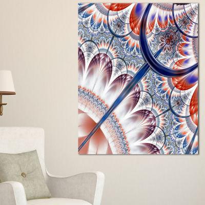 Designart Brown Blue Fractal Flower Pattern FloralCanvas Art Print