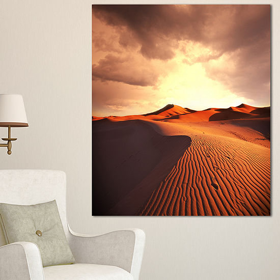 Designart Brown Desert Dunes At Sunrise African Landscape Canvas Art Print