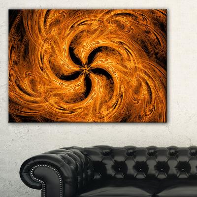 Designart Brown Fire Fractal Flower Design FloralCanvas Art Print