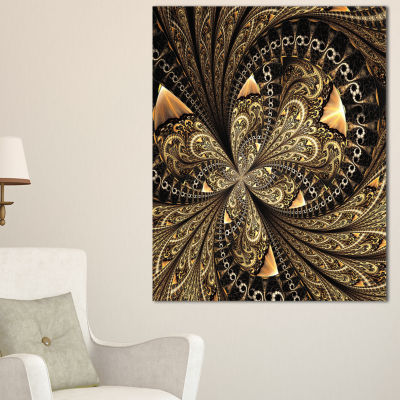 Designart Brown Fractal Flower Pattern Digital ArtFloral Canvas Art Print