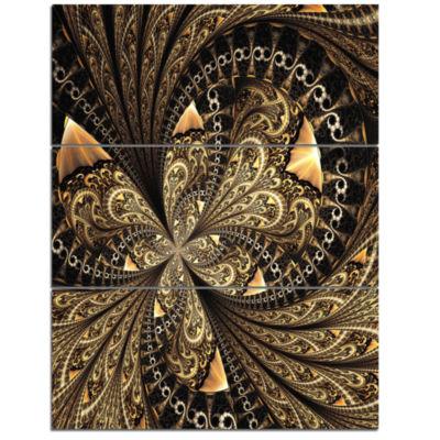 Designart Brown Fractal Flower Pattern Digital ArtFloral Triptych Canvas Art Print