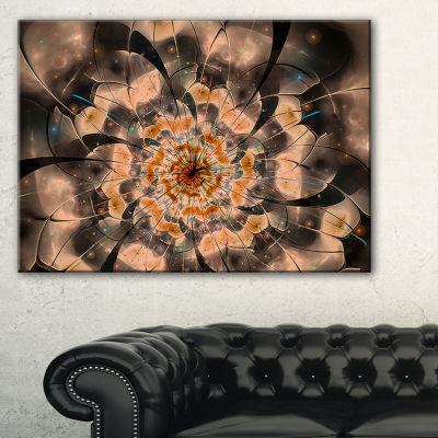 Designart Brown Fractal Flower Petals Close Up Floral Canvas Art Print