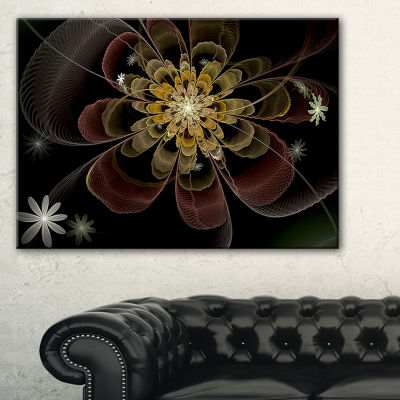 Designart Brown Fractal Flower With Silver Stars Floral Canvas Art Print