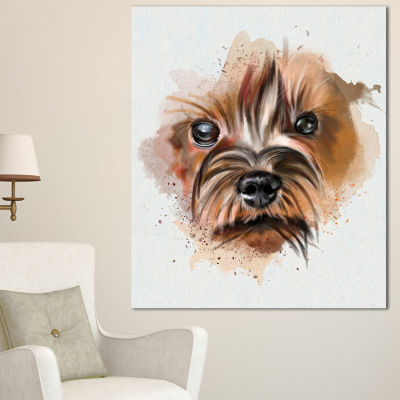 Designart Brown Funny Watercolor Dog Oversized Animal Wall Art