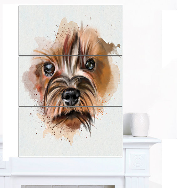 Designart Brown Funny Watercolor Dog Oversized Animal Wall Art - 3 Panels
