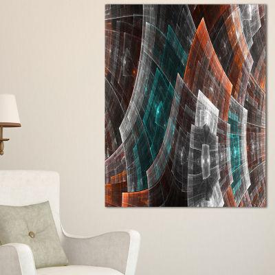 Designart Brown Psychedelic Fractal Metal Grid ArtAbstract Art On Canvas