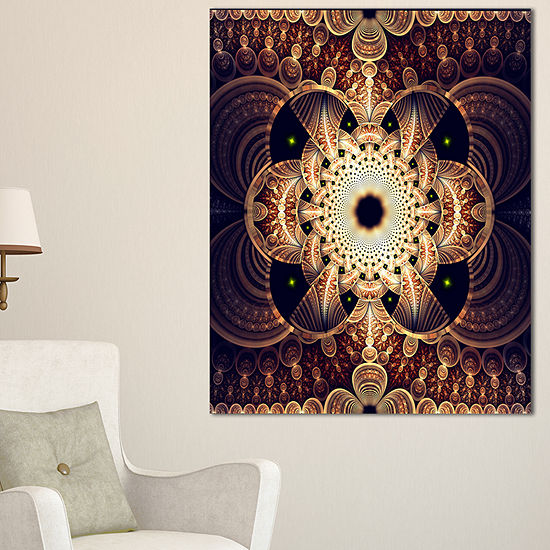 Designart Brown Red Fractal Flower Pattern DigitalFloral Canvas Art Print