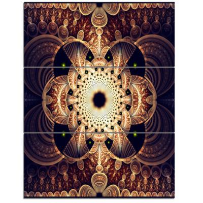Designart Brown Red Fractal Flower Pattern DigitalFloral Triptych Canvas Art Print