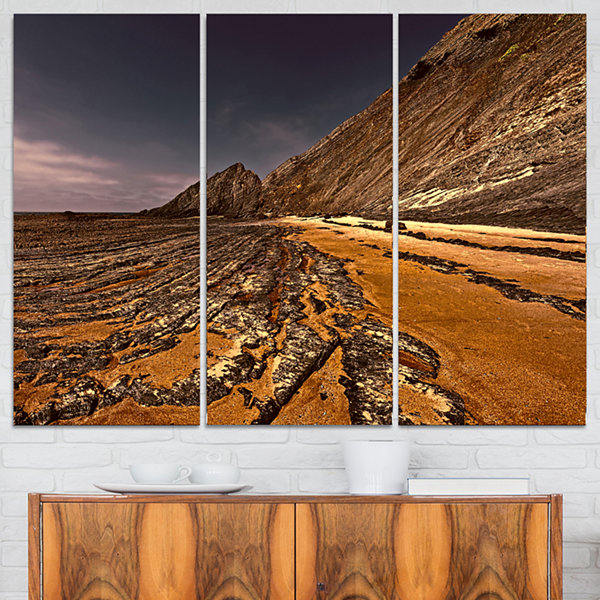 Designart Brown Rocky Coast Portugal Cityscape Triptych Canvas Print