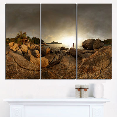 Designart Brown Rocky Forest Panorama Landscape Triptych Canvas Art Print