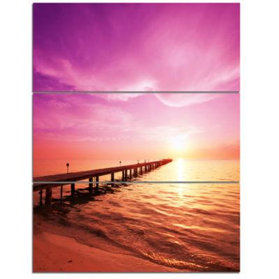 Designart Brown Sea And Pier Under Magenta Sky Bridge Triptych Canvas Art Print