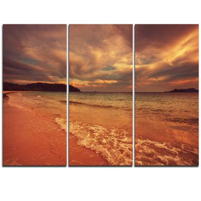 Designart Brown Serene Tropical Beach Large Seashore Triptych Canvas Print