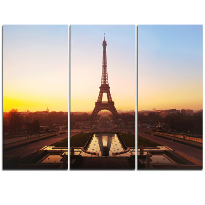 Designart Brown Silhouette Of Paris Paris Eiffel Tower Cityscape Triptych Canvas Print