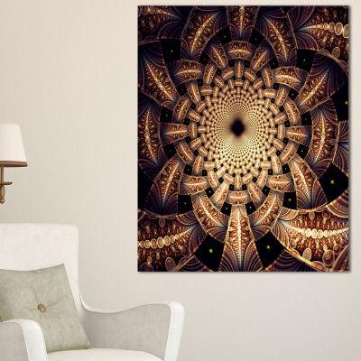 Designart Brown Symmetrical Fractal Flower DesignFloral Canvas Art Print