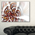 Designart Brown Symmetrical Fractal Flower FloralCanvas Art Print