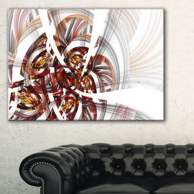 Designart Brown Symmetrical Fractal Flower FloralCanvas Art Print