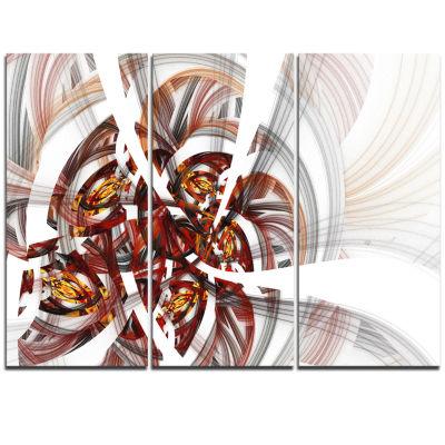 Designart Brown Symmetrical Fractal Flower FloralTriptych Canvas Art Print
