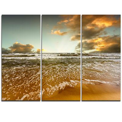 Designart Brown Tinged Beach And Cloudy Sky Seascape Triptych Canvas Art Print