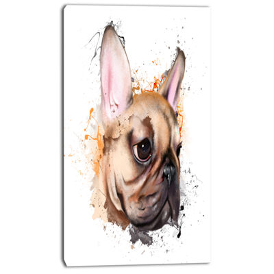 Designart Brown Watercolor French Bulldog Oversized Animal Wall Art