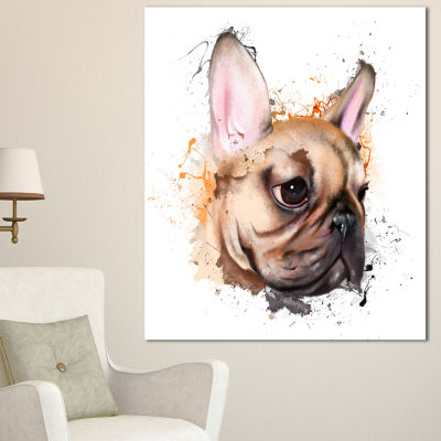 Designart Brown Watercolor French Bulldog Oversized Animal Wall Art - 3 Panels