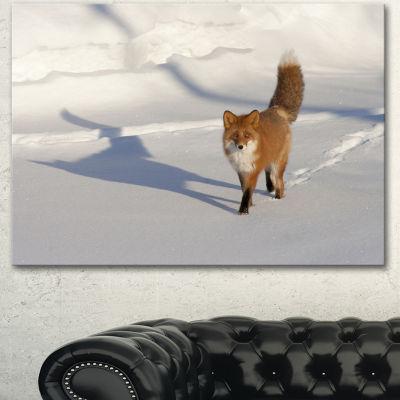 Designart Brown Winter Cat With Footprints Oversized Animal Wall Art