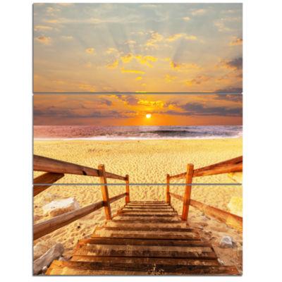 Designart Brown Wooden Boardwalk Into Beach BridgeTriptych Canvas Art Print