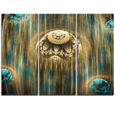 Designart Brown World Of Infinite Universe Oversized Abstract Triptych Canvas Art